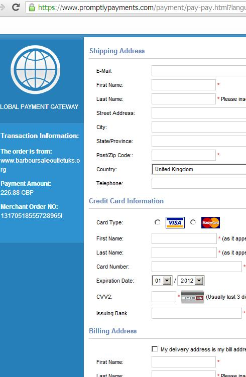 Fraudulent Credit Card Payment Processor Website: www.promptlypayments.com