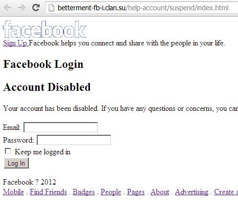 Facebook phishing web page: betterment-fb-i.clan.su/help-account/suspend/index.html