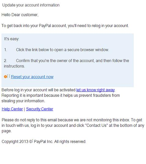 Phishing Paypal email message: Hello Dear customer