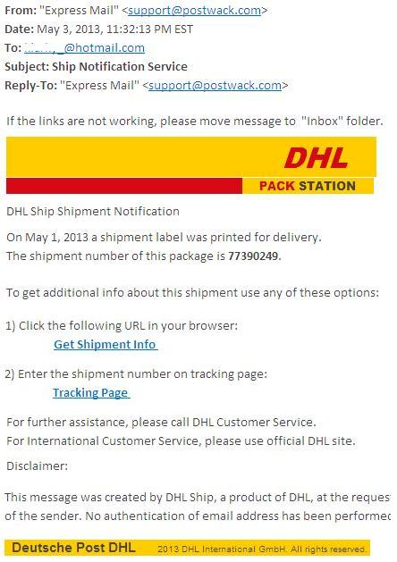 DHL Ship Notification Service
