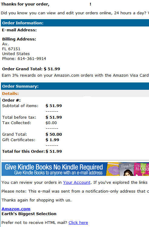 Malicious Amazon Kindle E-book Order Receipt email