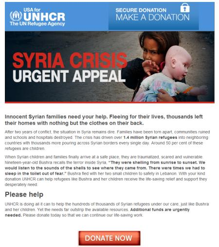 Scammers Impersonating the UN Refugee Agency (UNHCR) Email Message