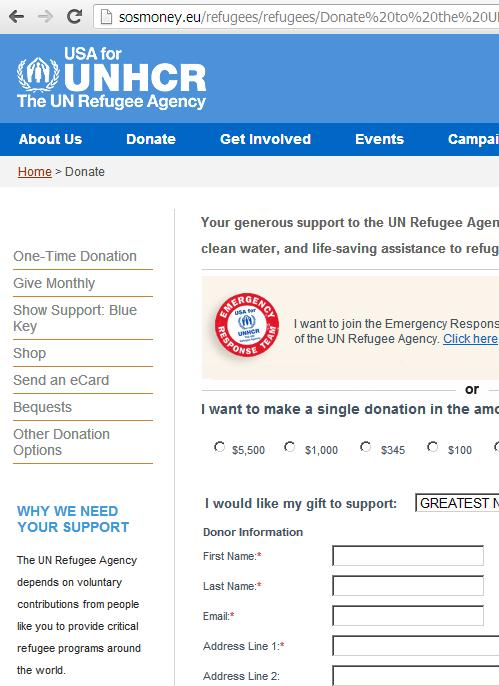 Phishing The UN Refugee Agency Website
