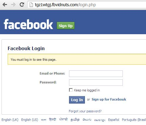 Phishing Facebook Website hxxp://www.fbvidnuts.com