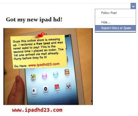 reporting a Facebook post as spam - Got My New iPad hd!
