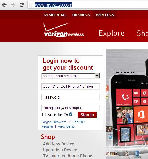 Phishing website www.myvz120.com