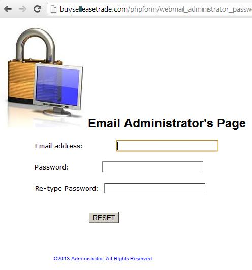 phishing web page webmail_reset.htm on buysellleasetrade.com