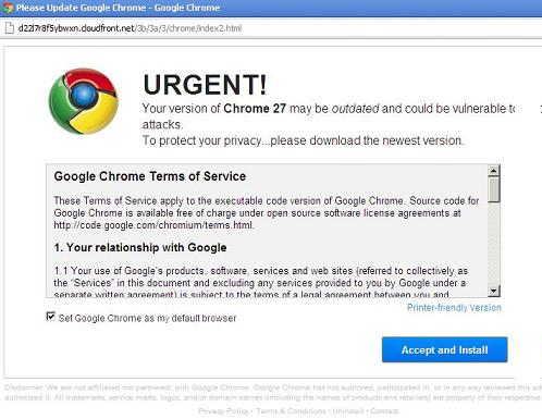 Beware of Google Chrome Web Browser Update and Download Websites