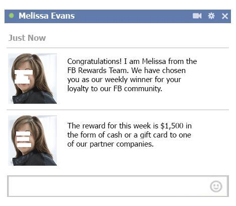 Facebook Cash Rewards Program Scam website