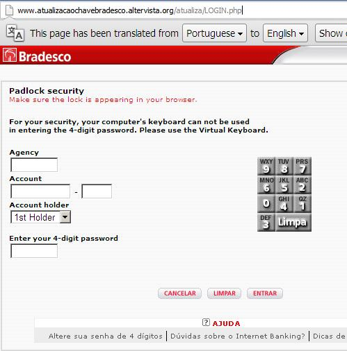 phishing or fake Banco Bradesco website