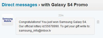 Twitter Galaxy S4 Promo Scam