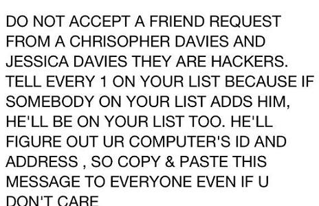 Do Not Accept A Friend Request From A Chrisopher Davies and Jessica Davies