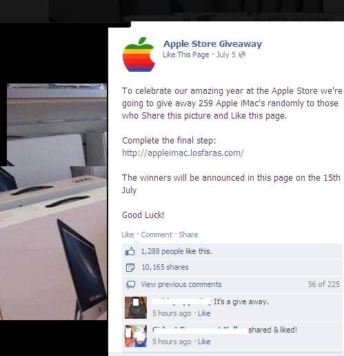 fake Apple iMac Store Products Giveaway Scam
