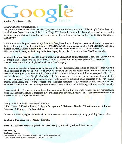 Fraudulent Google Online Lottery and Email Address Free Ticket Draws Promotion