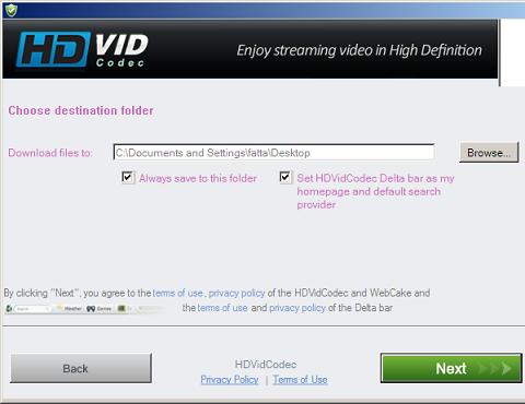 HDvidCodec Installation screen