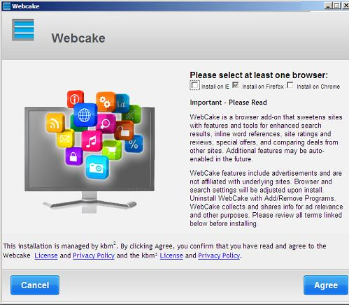 The WebCake Installation Screen