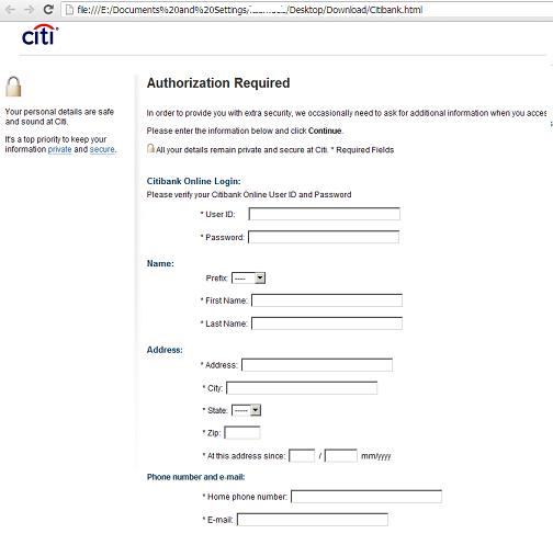 Citibank  Phishing or Fake form