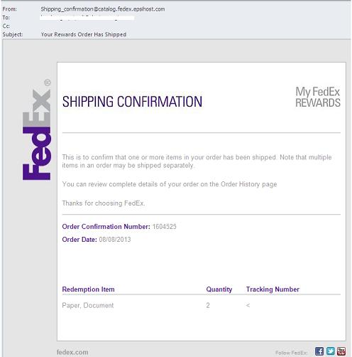FedEx Fake Shipping Confirmation Email-Your Rewards Order Has Shipped