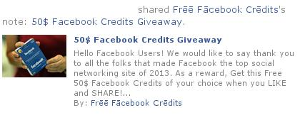 Facebook 50$ Credits Giveaways