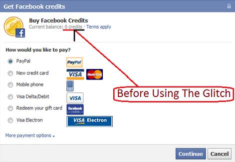 Purchase or Buy Facebook Credits