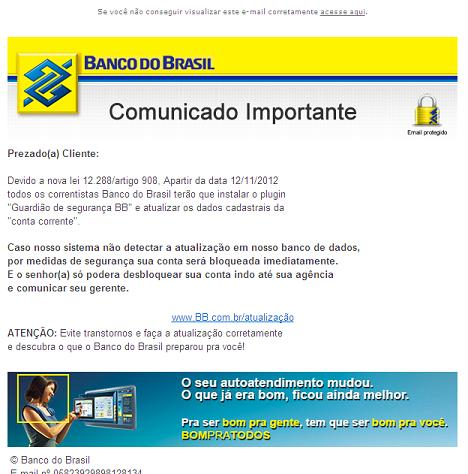 Bank of Brazil Phishing Email Scam