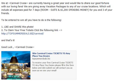 Win Carnival Cruise TICKETS TO Any Place You Desire Facebook Post