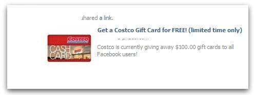 Costco Free Gift Cards and Candy Crush Promotion Scam Facebook Post
