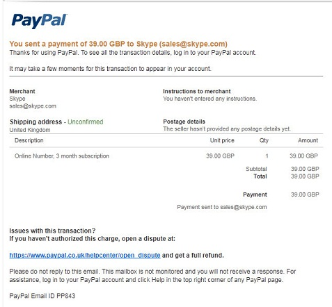 Receipt for Your Payment to Skype Taken From PayPal Fake Phishing Scam