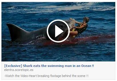 The 'Shark eats the swimming man in an Ocean' Fake Facebook Post