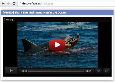 Malicious website discoverfacts. es - Shark eats the swimming man