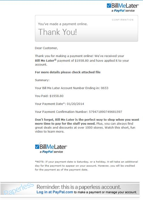 BillMeLater Virus Email Message