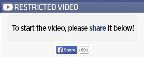 Restricted Video share - Facebook Like Scam