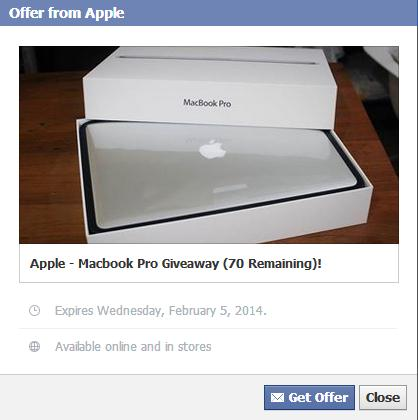 The Fake Apple MacBook Pro Giveaway Facebook Offer