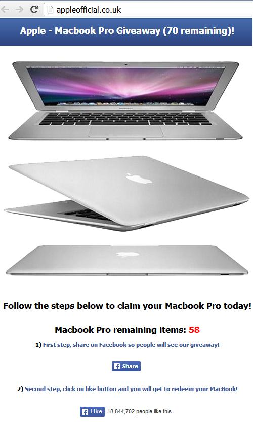 The Fake Apple Macbook Pro Giveaway Facebook website appleofficial.co.uk