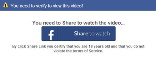 Facebook share - You need to verify to view this video