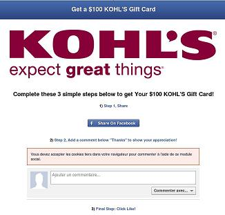 KOHL $100 Gift Card Scam