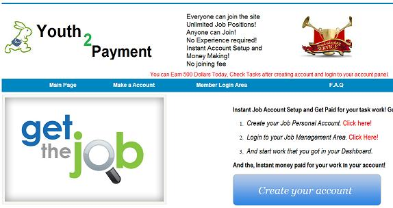 The Fake Internet Job Website - www.youth2payment.com