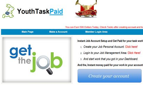 The Fake Internet Job Website - www.YouthTaskPaid.com