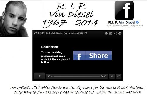 The Vin Diesel Fake and Malicious Website