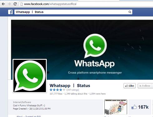 The Fake Facebook Whatsapp page- whatsappstatusoffical