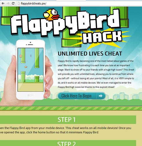 The Flappy Bird Cheat Survey Scam Website flappybirdcheats.pw