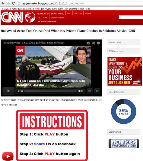 Tom Cruise Died When His Private Plane Crashes in Soldotna Alaska Fake CNN Page