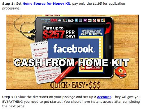 Facebook work from home scam- cash from home kit
