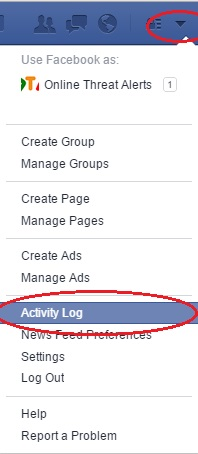 Facebook Setting menu