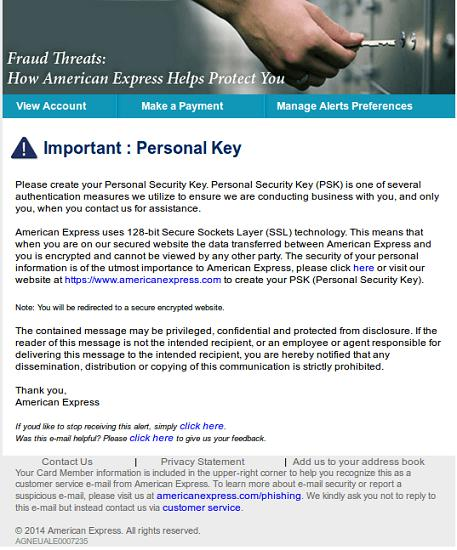 American Express Phishing Email Message