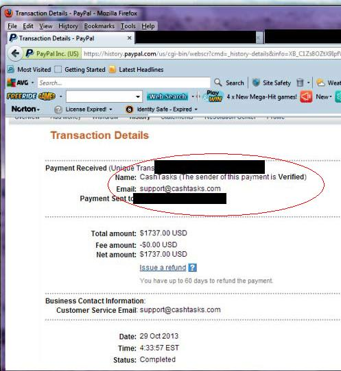 fake PayPal proof of earning support @cashtasks.com