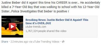 The Facebook Post: Justin Bieber Did it Again - Accidentally Killed 7-Year-Old Boy