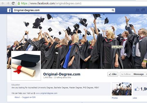 The Fake Degree Buying Online Website www.original-degree.com Facebook page