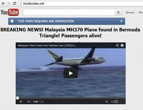The Fake YouTube Looking website: www.insidevideo.net - Malaysia MH370 Plane found