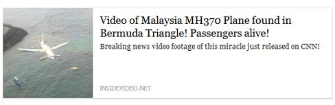 scam-  Malaysia MH370 Plane found Facebook post